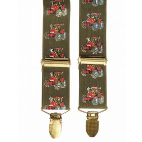 Classic Country Braces Red Tractor on Green