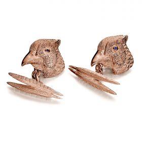 Cock Pheasant Cufflinks - Rose Gold