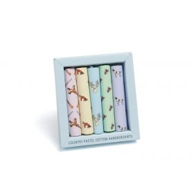 Boxed Hankies Country Animals Pastels