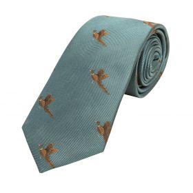 Woven Silk Tie Flying Pheasants Cyan