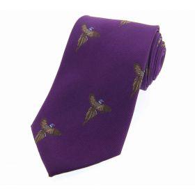 Woven Silk Tie Flying Pheasant Purple