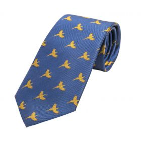 Luxury Woven Silk Tie Flying Pheasants Blue