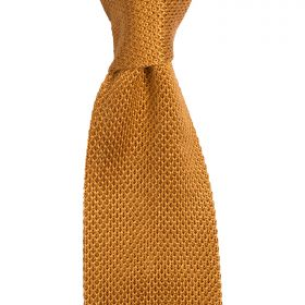 Knitted Silk Tie Burnt Orange