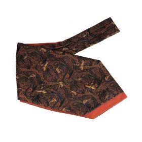 Pheasant & Paisley Silk & Cotton Cravat - Russet