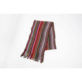 Lambswool Stripey Scarf - Red Multi