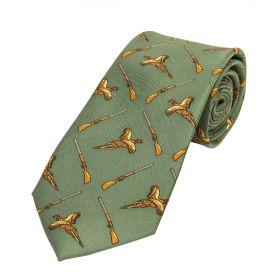Kids Silk Tie Green Pheasant and Guns