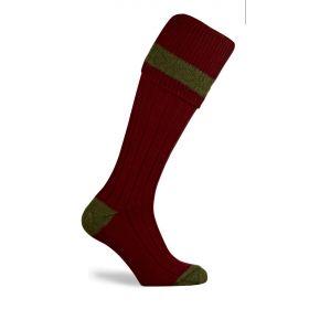 Contrast Pure Wool Shooting Socks Burgundy/Olive