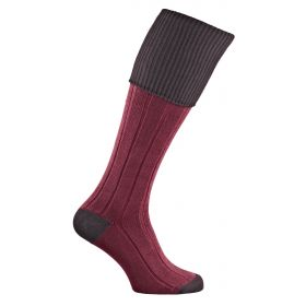 Dorset Contrast Cotton Shooting Socks - Aubergine