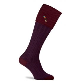 Dartmoor Shooting Socks with Feather Motif Burgundy