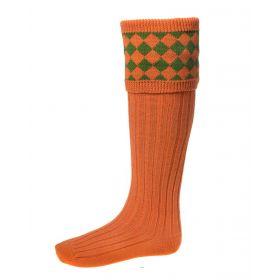 Chessboard Top Shooting Socks - Burnt Orange with Garters