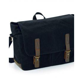 Heritage Waxed Canvas Messenger Bag - Black