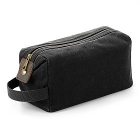 Heritage Waxed Canvas Washbag - Black