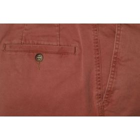 Stretched Cotton Chinos - Brick