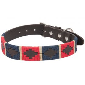Argentine Leather Dog Collar Red/Blue