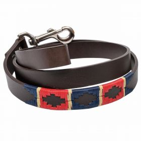 Argentine Leather Dog Lead - Red/Navy