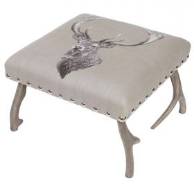 Stag Antler Upholstered Tapestry Foot Stool