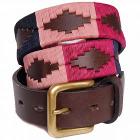 Ladies Polo Belt - Salmon/Navy/Magenta