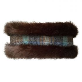 Faux Fur Reversible Headwarmer Brown Check/Brown