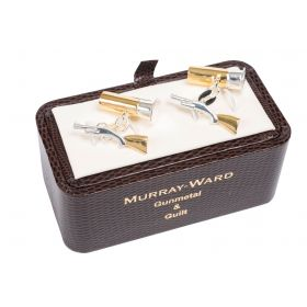 Shotgun and Cartridge Cufflinks Gunmetal and Gilt