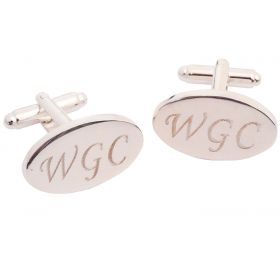 Personalised Silver Plated Cufflinks - Engraved initials