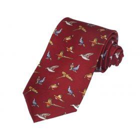 Silk Tie Red Game Bird