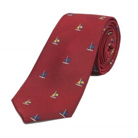 Woven Silk Ties Sails Red