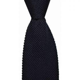 Knitted Silk Tie - Navy