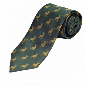 Woven Silk Stag Tie - Green