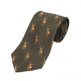 Woven Silk Tie Stag Green