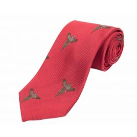 Woven Silk Tie Pheasant Red