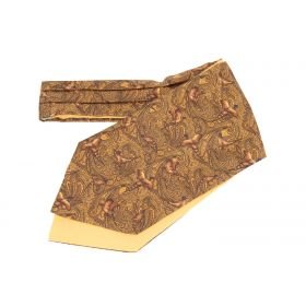 Pheasant & Paisley Silk and Cotton Cravat - Gold