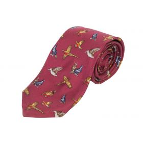 Kids Silk Tie Game Bird Red