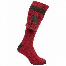 Contrast Pure Wool Shooting Socks - Ruby