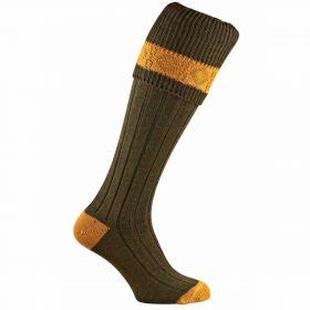 Contrast Pure Wool Shooting Socks - Greenacre