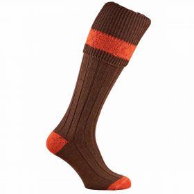 Contrast Pure Wool Shooting Socks - Pecan