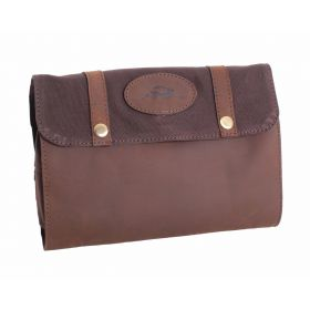 FFF Leather and Canvas Washbag