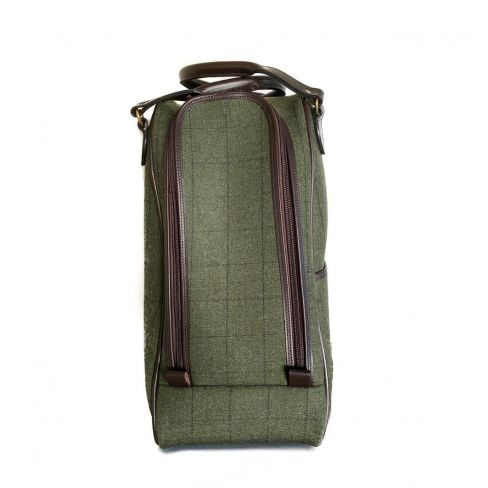 OT Tweed and Leather Boot Bag Dark Green