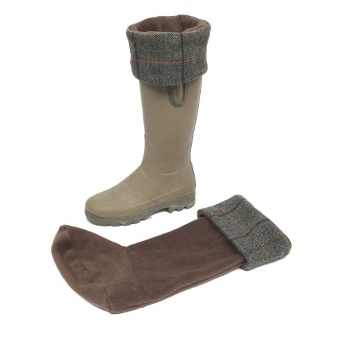 Fleece and Tweed Welly Warmers Chocolate