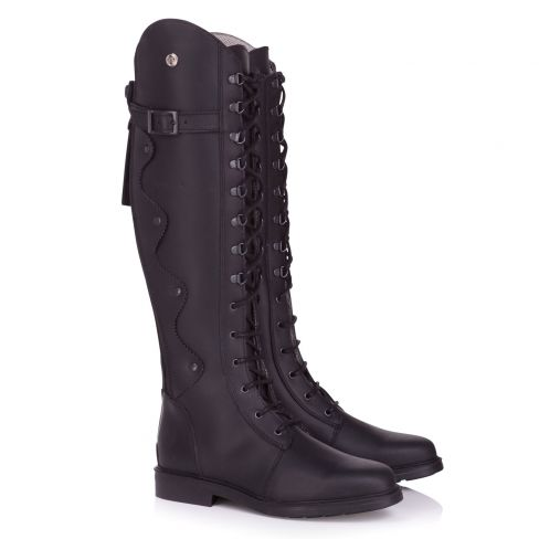 Ladies Andalucia Italian Leather Lace and Zip Boots - Black