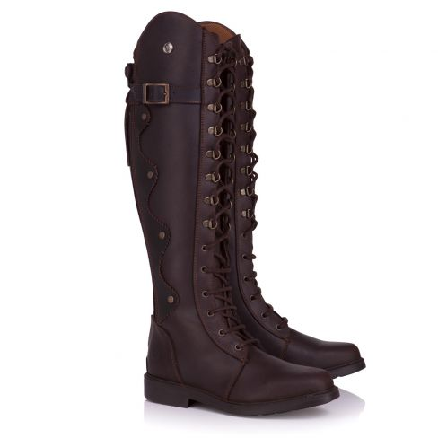 Ladies Andalucia  Italian Leather Lace and Zip Boots - Brown