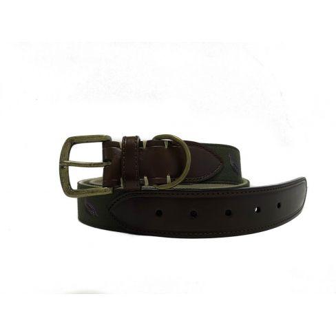 Silk and Leather Webbing Belt Partridge