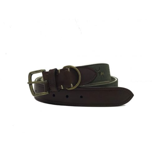 Silk and Leather Webbing Belt Stag