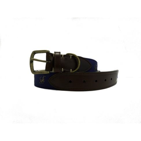 Silk and Leather Webbing Belt Rampant Hare