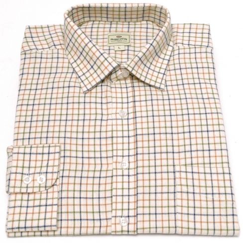 Hoggs of Fife Tattersall Shirt - Tan/Navy/Green