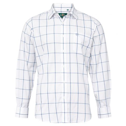 Alan Paine Ilkley Wide Check Shirt Blue