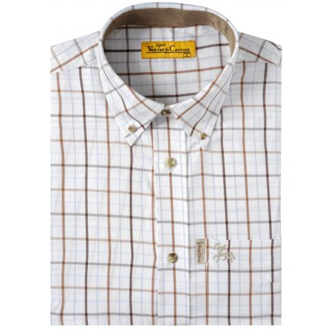 Percussion Classic Cotton Shirt - Tan Brown / Beige Check