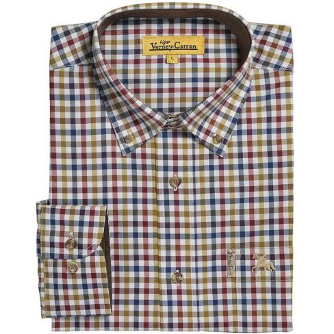 Percussion Classic Cotton Shirt - Blue / Purple / Gold Check