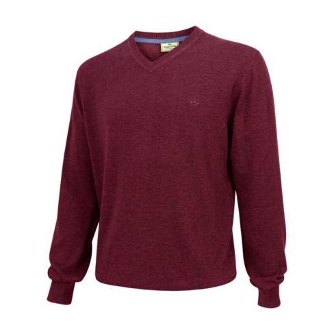 Stirling V Neck Cotton Pullover Burgundy