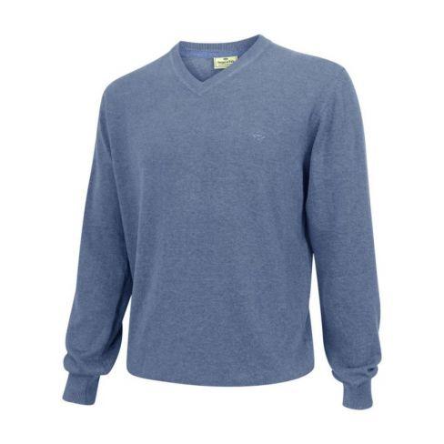 Stirling V Neck Cotton Pullover Light Denim