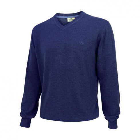 Stirling V Neck Cotton Pullover Navy